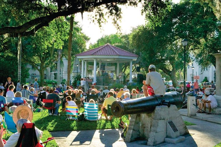 Concerts in the Plaza are held in the gazebo in the Plaza de la Constitucion, between King Street and Cathedral Place in downtown St. Augustine. Contributed image