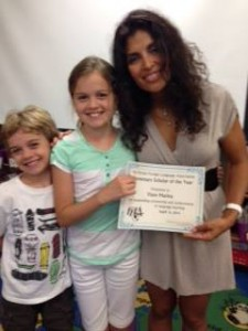 Fiore Marina, and her brother, Javier, with Johanna Santinho, LEE Instructor at Durbin Creek Elementary School.