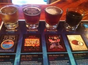 Beer samples at Mile Marker Brewing in St. Augustine.