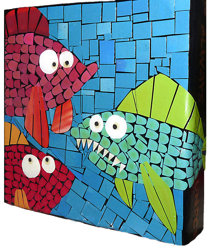 """Fish Soup"" paper mosaic on 6x6 canvas block by Brenda Flynn of High Tide Gallery."