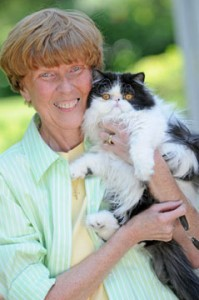 Sally Cowan and her cat Thunder