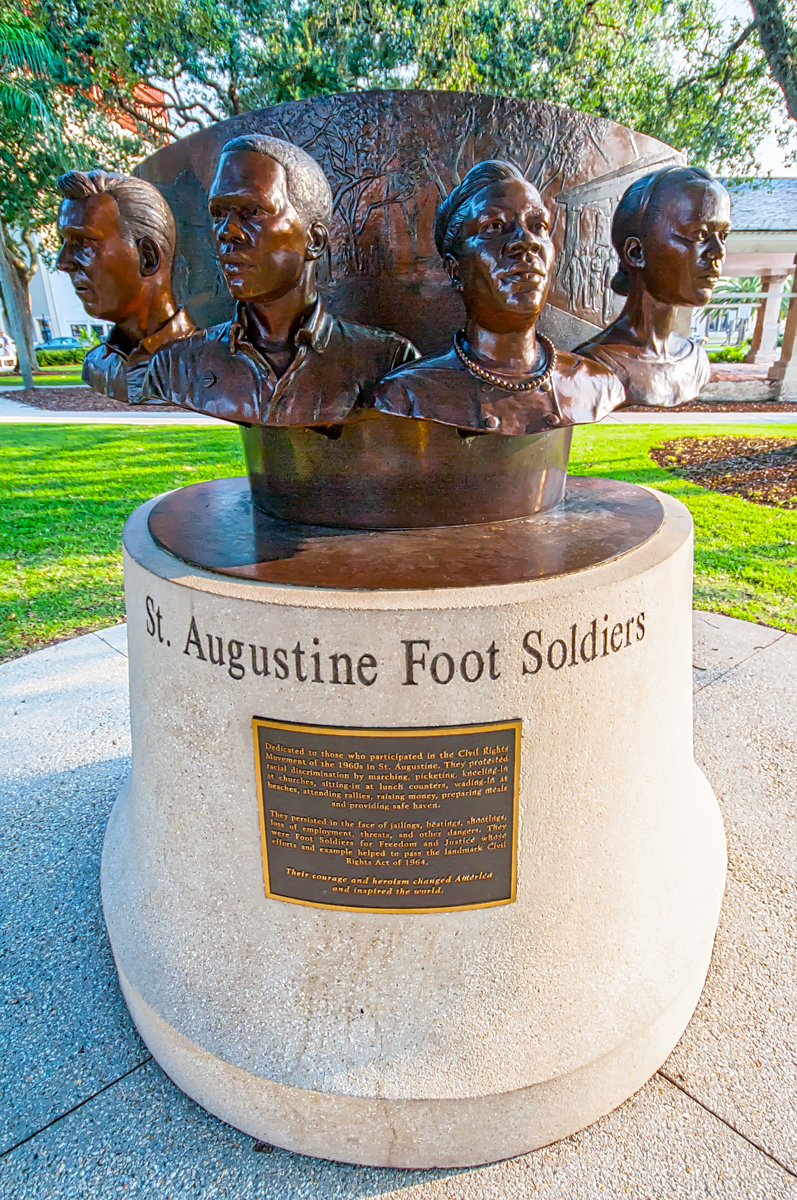 The Food Soldiers Monument in the Plaza de la Constitucion, between King Street and Cathedral Place in downtown St. Augustine. Photo by STACEY SATHER