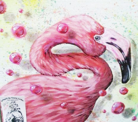 Flamingo and other artwork by Travis Luther is on view at The Starving Artist, 28 Cuna St., downtown St. Augustine. The location carries artwork from more than 40 local artists. A Christmas in July event in ongoing this month. See details below.