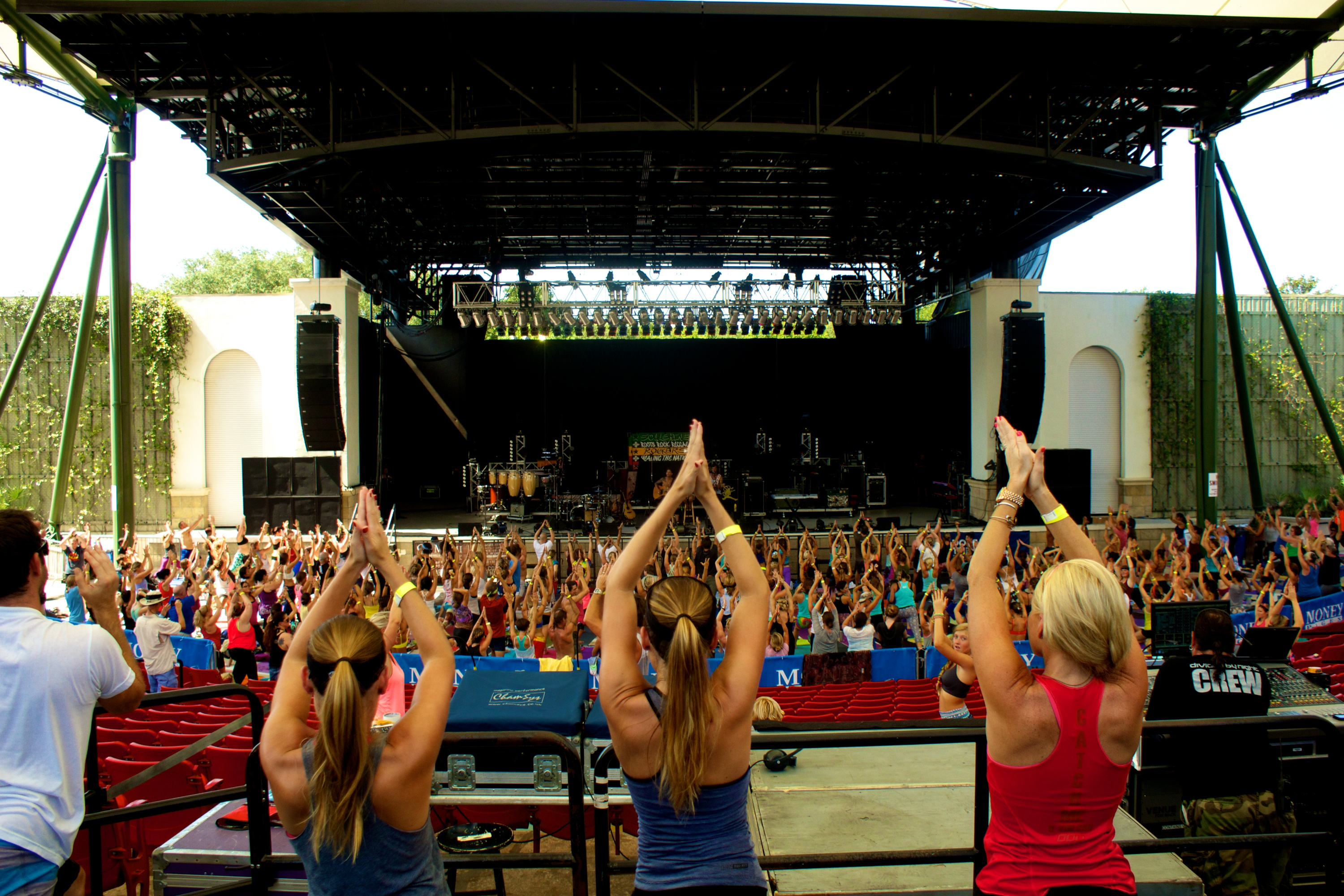 Participants do yoga at the St. Augustine Amphitheatre as part of the Soulshine Tour on Wednesday, July 30. Photos by BRYAN EDWARD, www.facebook.com/BryanEdwardPhotography