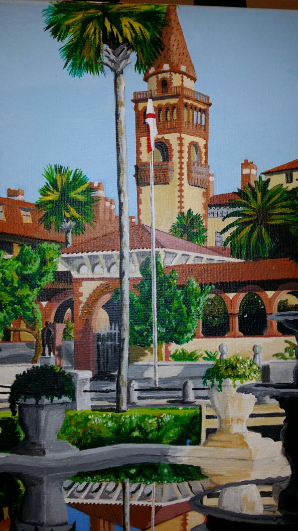 Flagler College, an acrylic on canvas by St. Augustine Mayor Joe Boles, on view at Grand Bohemian Gallery, 49 King St.