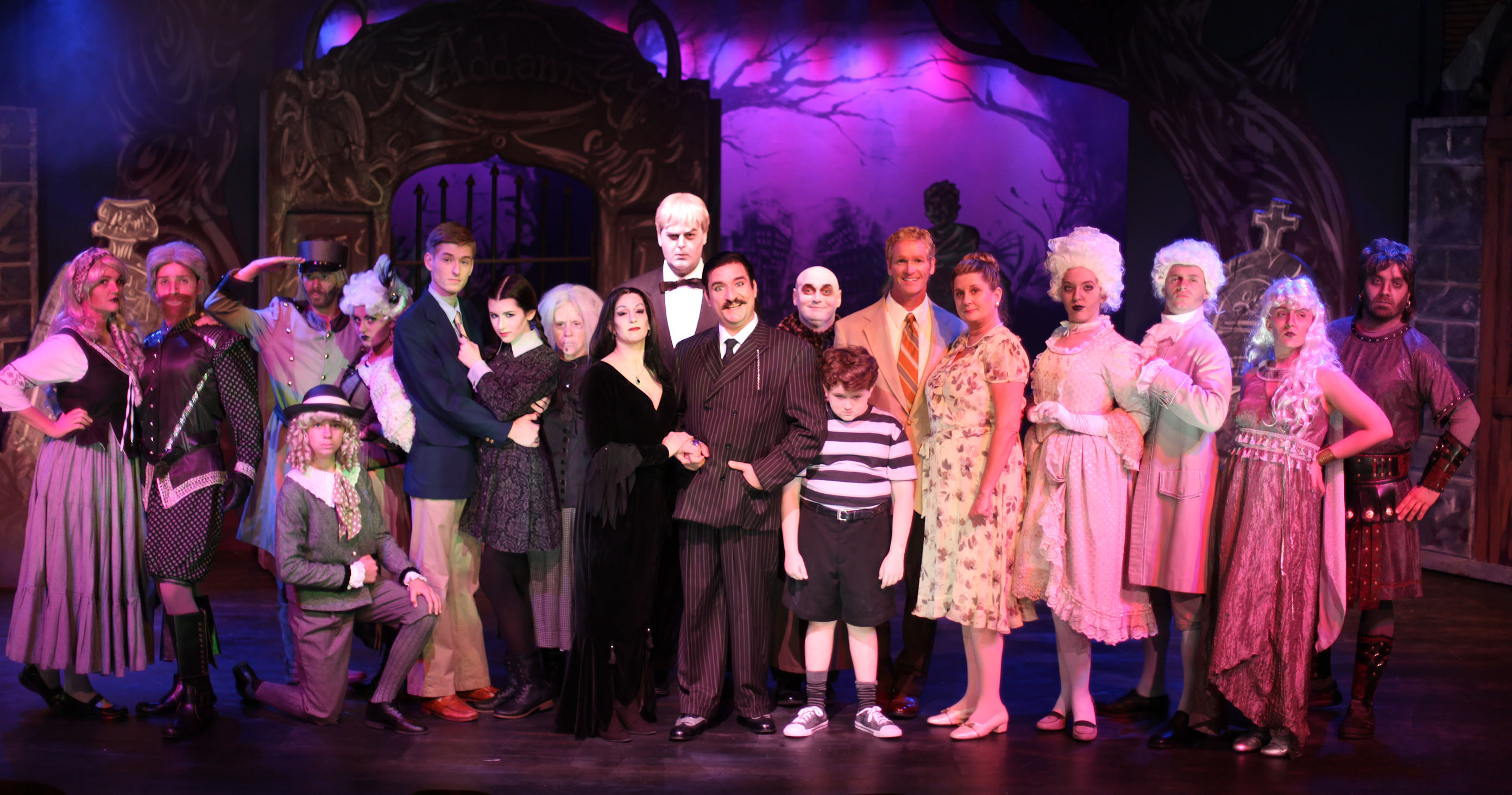 The cast of The Addams Family musical, on stage through Oct. 19 at Limelight Theatre, 11 Old Mission Ave., uptown St. Augustine. Show times are 7:30 p.m. Thursday through Saturday, and 2 p.m. Sunday. Photo by Renee Unsworth