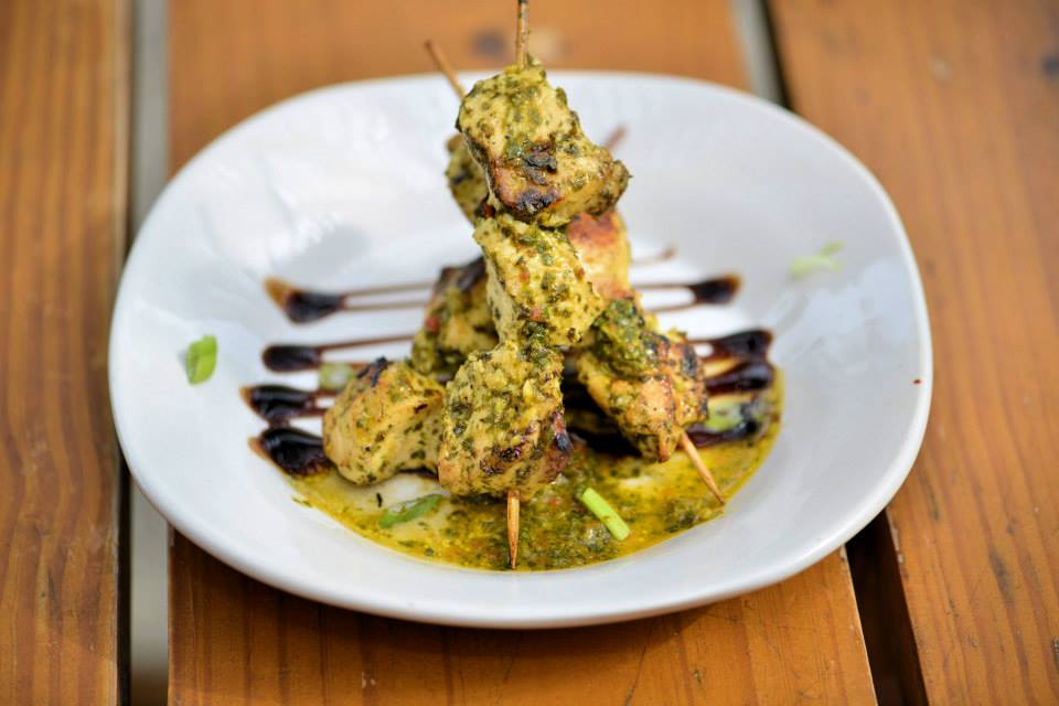 Grilled chicken skewers from the Taberna Del Caballo, 33 St. George St., iin downtown St. Augustine, part of the Colonial Quarter. Contributed image
