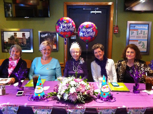 At the Jan. 20 birthday party Lorene Riggins was honored by fellow members of her knitting group. Pictured from left: Clara Gardner, Jean Liston, birthday girl Lorene Riggins, Audrey London, daughter of Riggins, Anna Mae James.