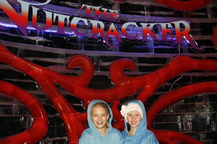 Jenny Albanesi and her friend, Evie, shiver through the Nutcracker Ice attraction at the Gaylord Palms Hotel in Orlando. Photo by Ed Albanesi