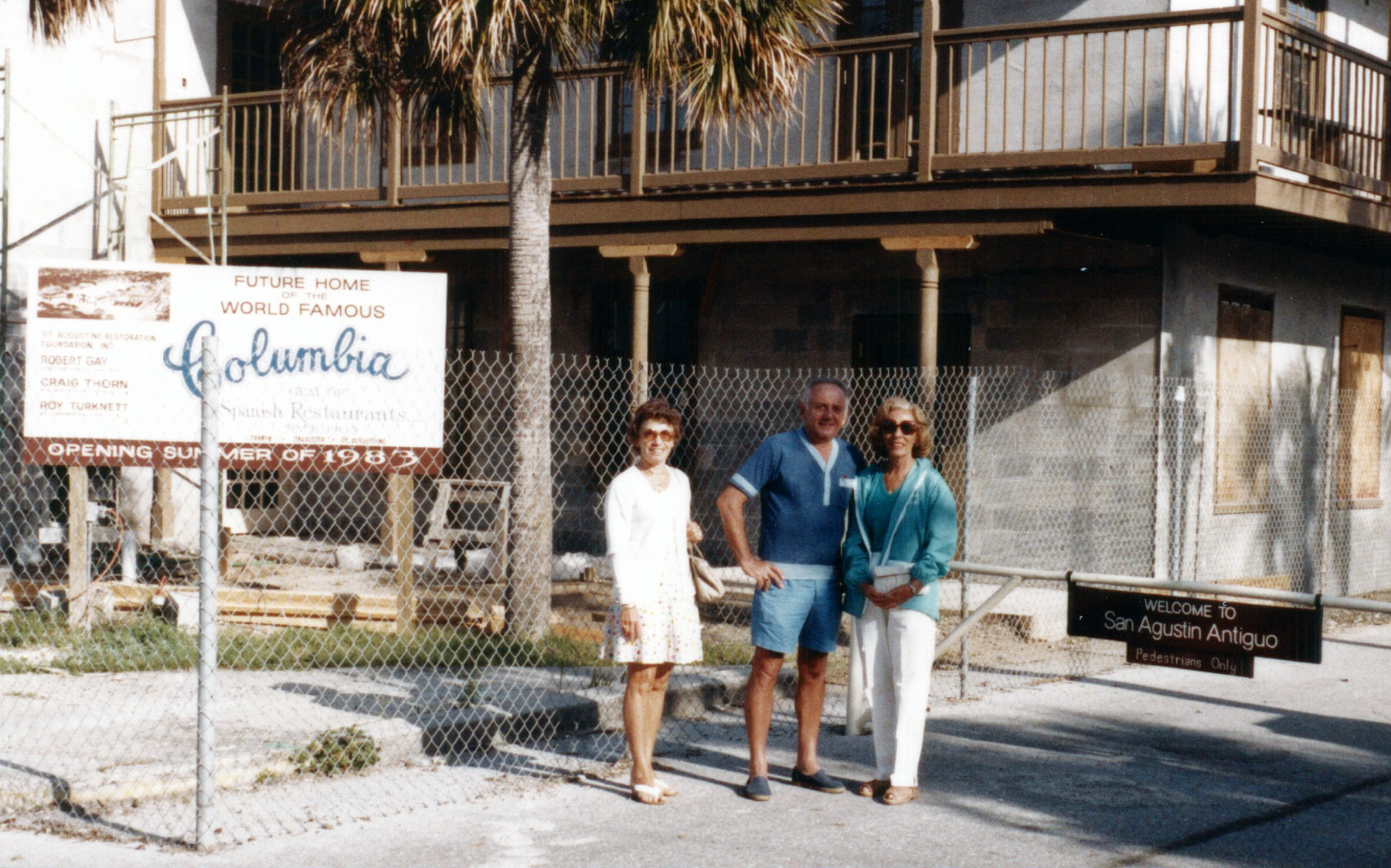 The author's aunt, dad and mom visited soon after he and his wife moved to St. Augustine in February 1983. The Columbia Restaurant was under construction. Photo by Ed Albanesi