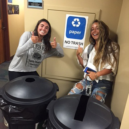 Students Anna Dow and Tori Weida participate in the sustainability initiative, going on from March 17 to March 31.