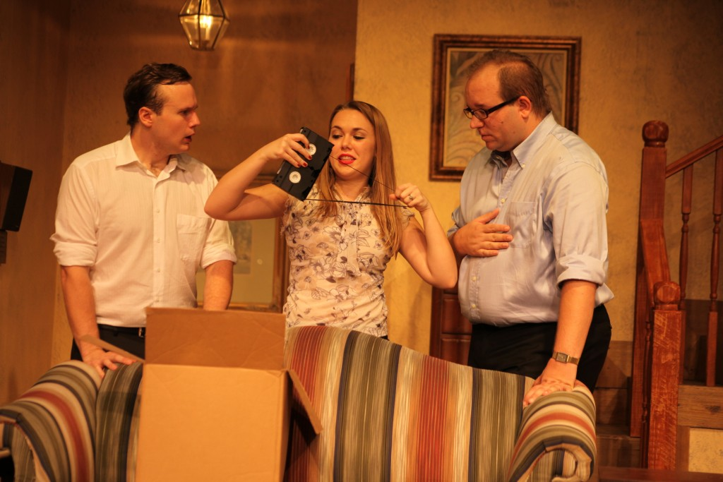 Micah Laird as Brian Runnicles, Kathryn Suddard as Frances Hunter, and Matthew Whaley as Peter Hunter in No Sex Please, We're British, on stage April 17 through May 10 at Limelight Theatre, 11 Old Mission Ave., uptown St. Augustine.