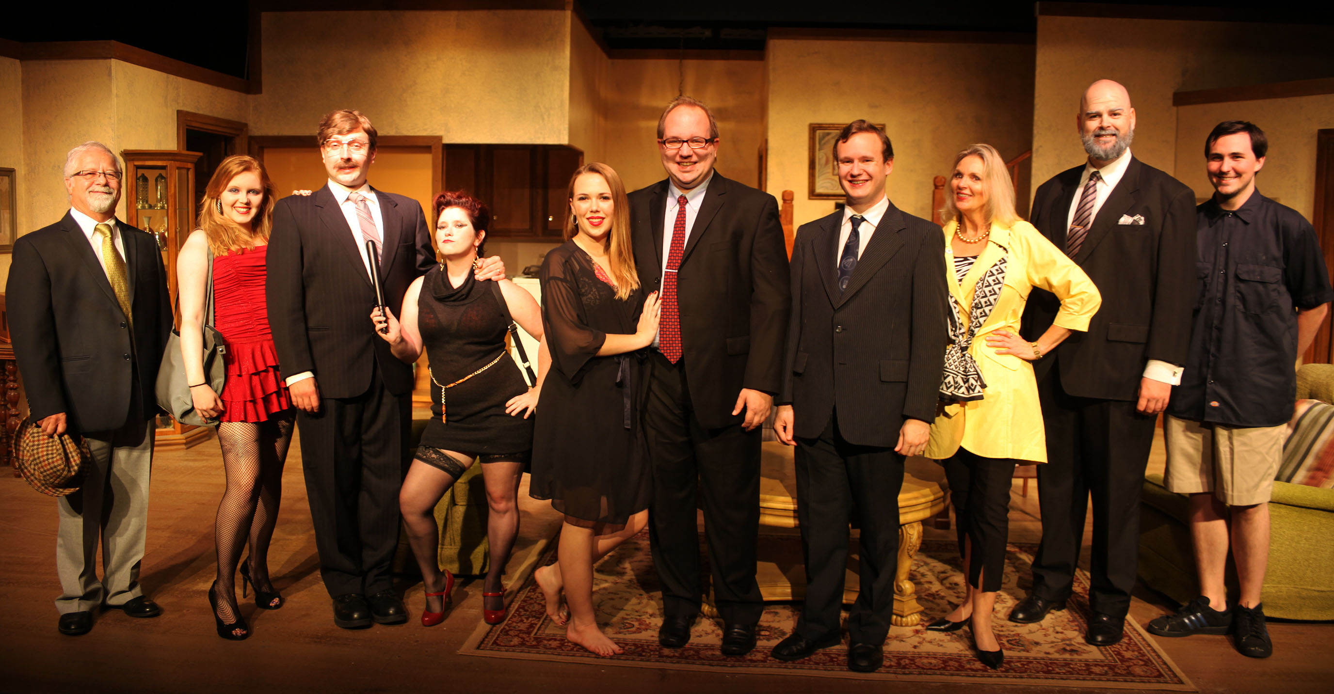 No Sex cast: Marty Fillman as Superintendent Paul; Nicole Payne plays Barbara; Jan Peter Buksar as Mr. Needham; Kelly Kates as Susan; Kathryn Suddard as Frances Hunter; Matthew Whaley as Peter Hunter; Micah Laird as Brian Runnicles; Linda Mignon as Eleanor Hunter; James Desmond as Leslie Bromhead; and Aaron O'Connell as Delivery Man. Photos by Renee Unsworth