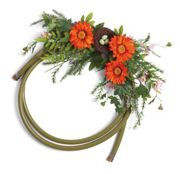 Example of a wreath made with a garden hose