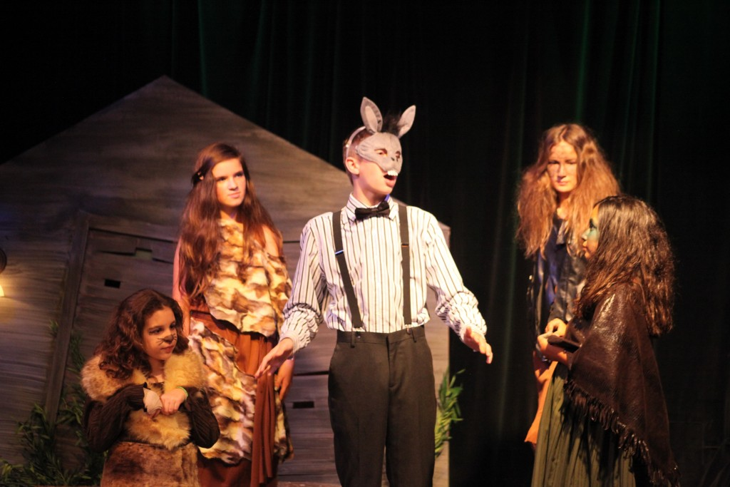 Kyle Thompson as Nick Botton is surrounded by fairies Peaseblossom (Lizzie Plambeck); Flute (Bradley Williams); Snug (Cait Kilhoffer) and Mustardseed (Julia Montufar) in A Midsummer Night's Dream, on stage May 21-24 at Limelight Theatre in St. Augustine. Photos by Renee Unsworth