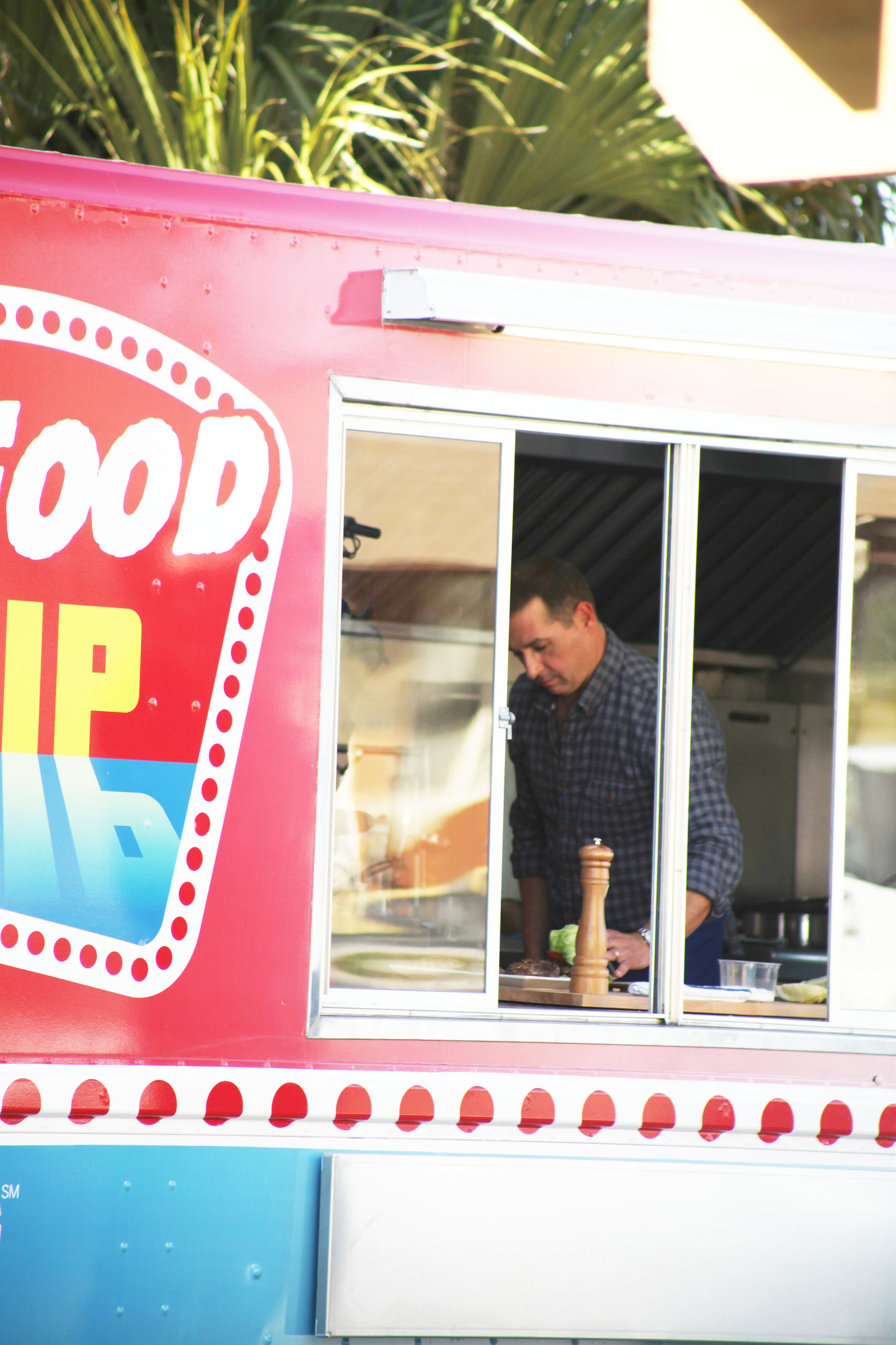 Bobby Dean (Paula's son) is seen in this photo in January 2015 in the Junk Food Flip truck during filming for the Cooking Channel in the parking lot of Gas Full Service Restaurant in St. Augustine.