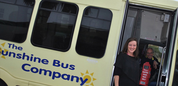 Sunshine Bus Company Mobility Manager Katie Arnold with driver Martin Toder