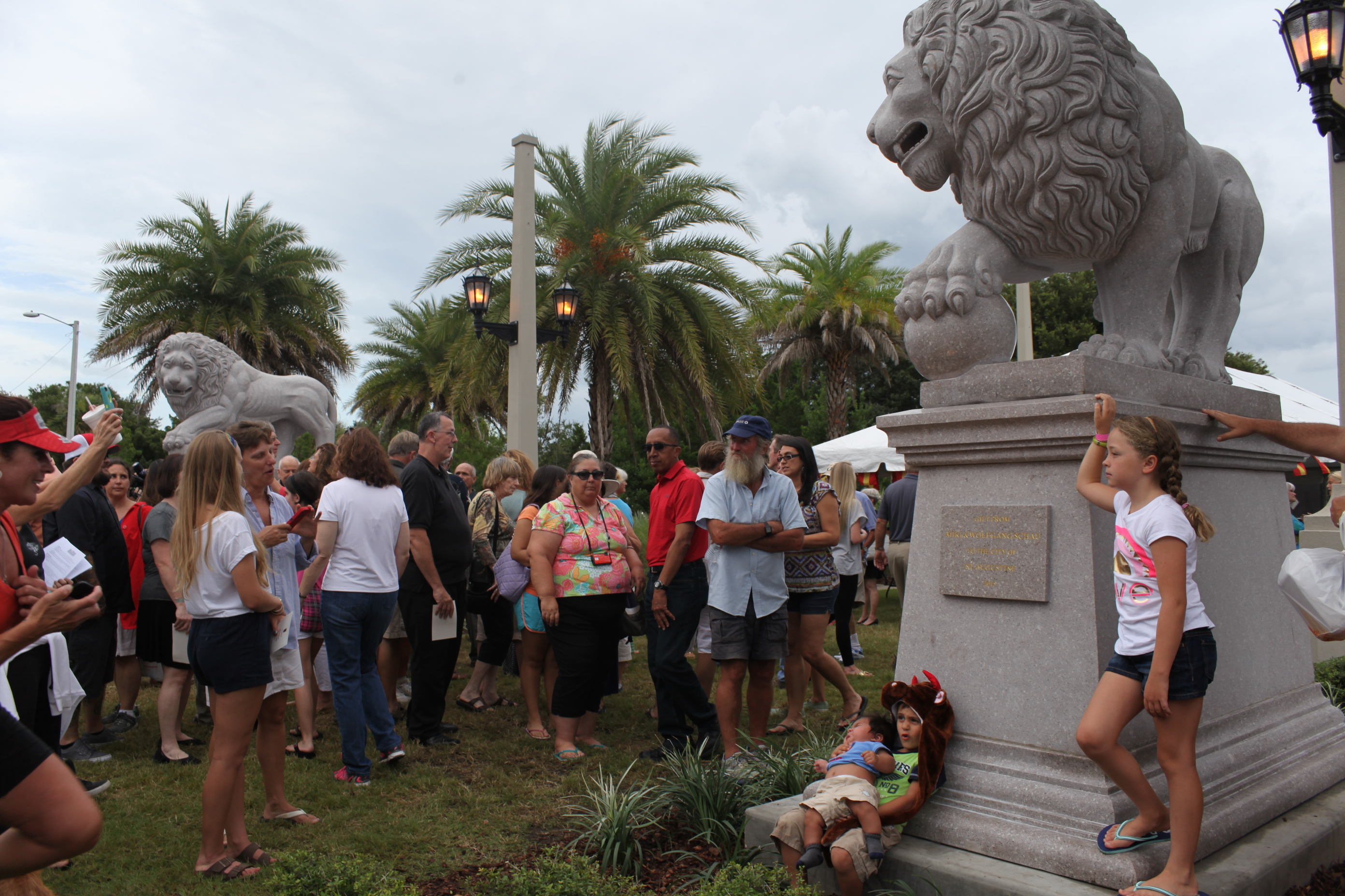Pax and Peli, new lions gifted to the City of St. Augustine, were unveiled on Thursday, July 2 at Davis Park, on the east side of the Bridge of Lions. The original two lion sculptures, Firm and Faithful, stand at the base of the west side of the bridge in St. Augustine. Photos by Renee Unsworth