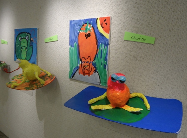"Frogs art by students in the St. Augustine's summer camp called 'Camphibians,"" on view from 5 to 7 p.m. July 16. Photo by Susan Brady"