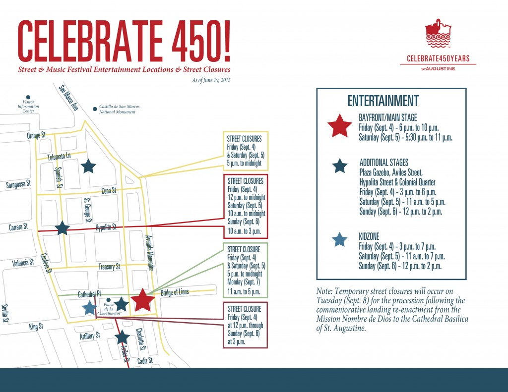 Celebrate 450! - Street Closure & Stage Map