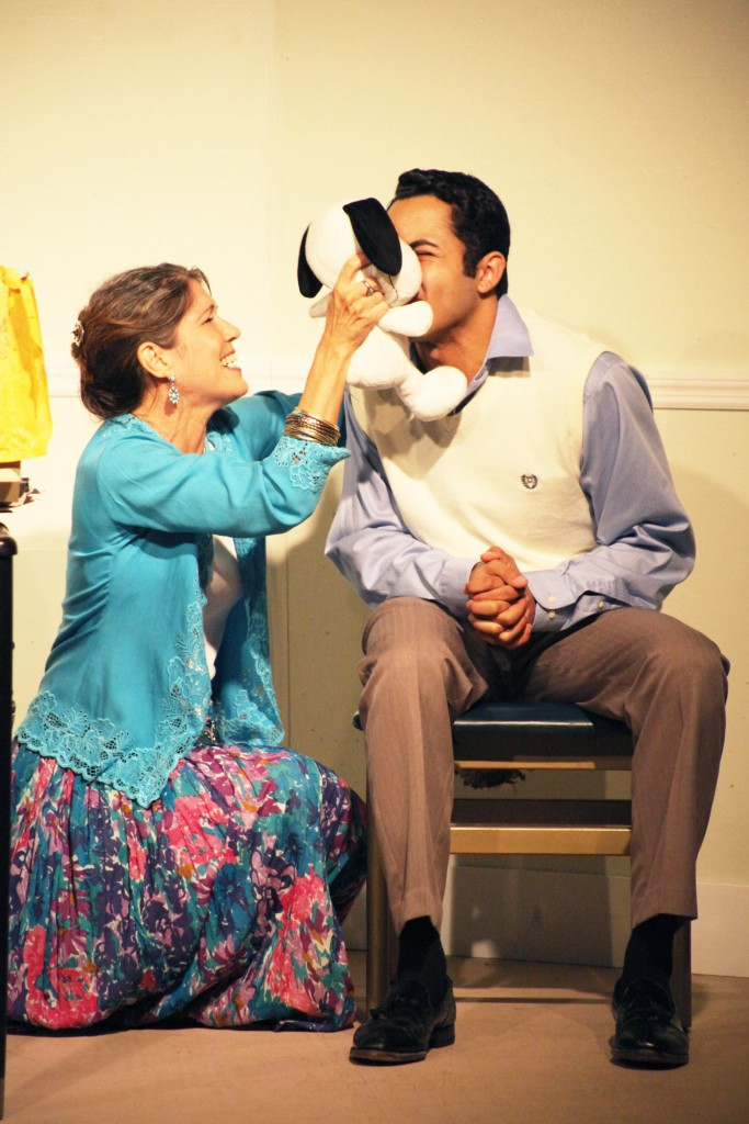 Jessica Ferris at Charlotte the therapist and Marc Anthony Toro as Bruce in Beyond Therapy, Aug. 7-30 at Limelight Theatre.