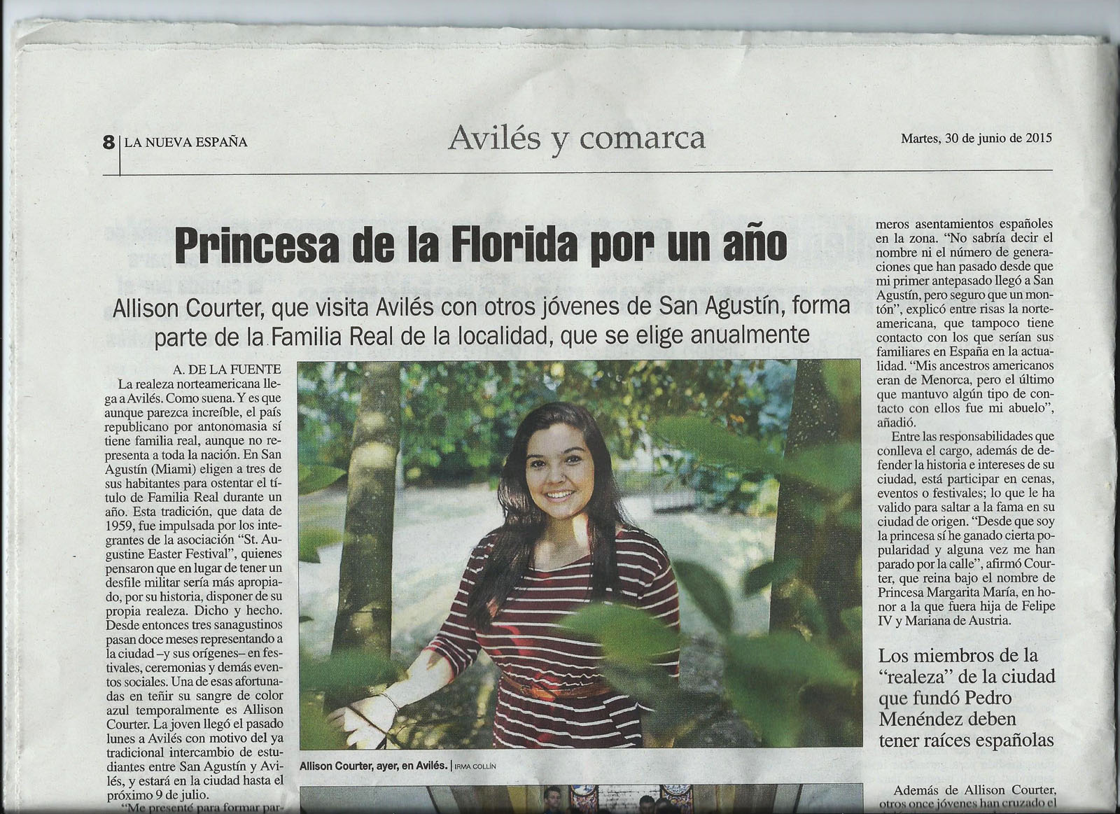 A feature in the Aviles newspaper spotlighted Allison during her visit to that Spanish city as a Sister Cities exchange student.