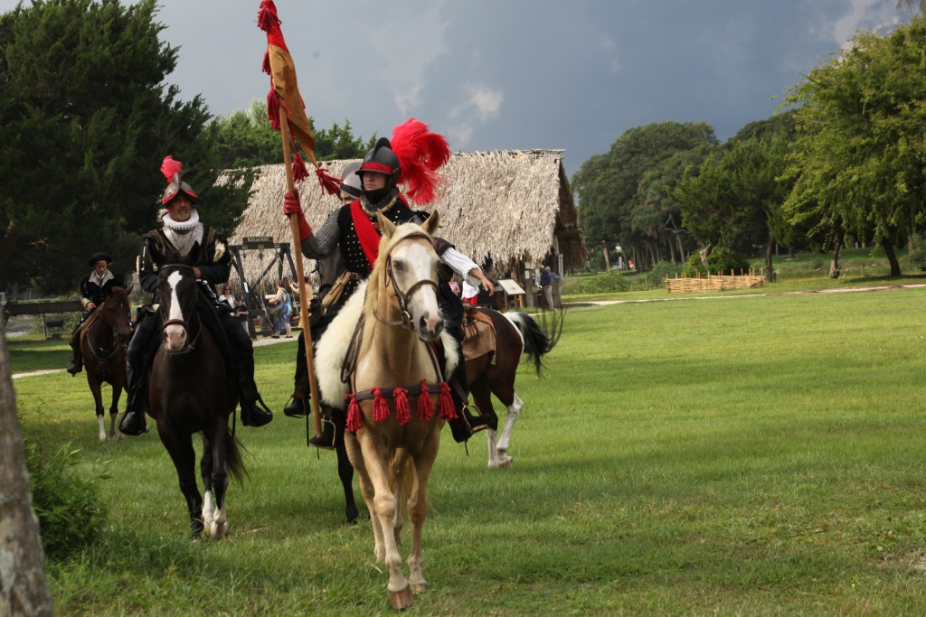 Soldier re-enactors rode on horseback on Saturday, Sept. 5 at the Fountain of Youth during the Menendez landing and Feast of Thanksgiving.