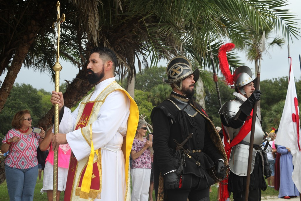 Father Lopez and Pedro Menendez de Aviles at the landing re-enactment and Feast of Thanksgiving at the Fountain of Youth.