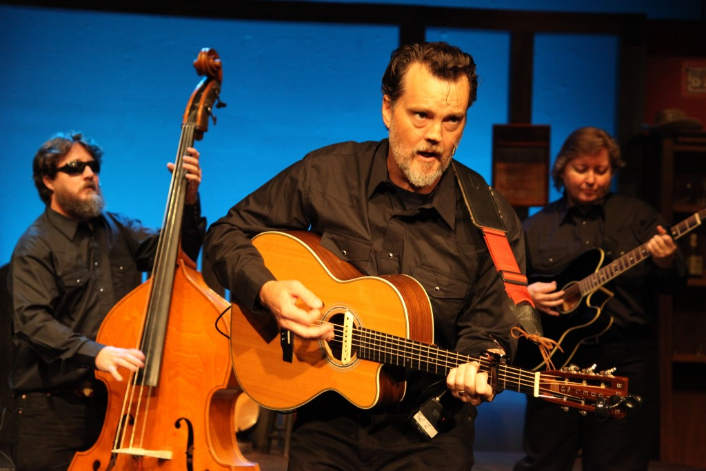Ring of Fire, a musical revue featuring Johnny Cash hit songs, runs Sept. 17-Oct. 18 at Limelight Theatre. In this photo: Rob Langston, Britt Corry, and Susan Roche play musicians in the show. Photos by Renee Unsworth