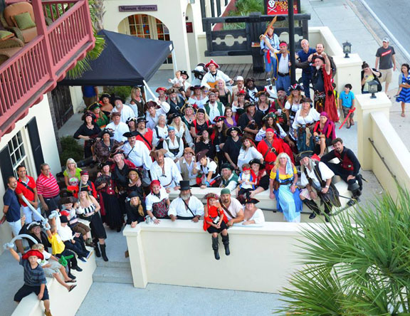 This photo shows a gathering at a previous Talk Like A Pirate Day at the St. Augustine Pirate & Treasure Museum. Contributed image
