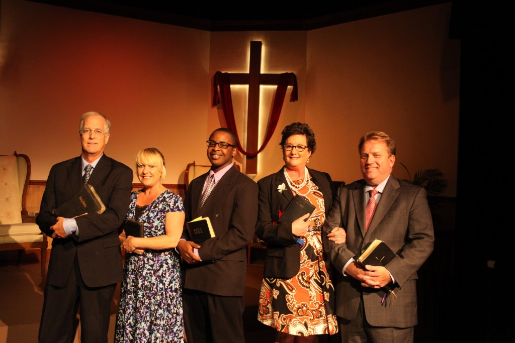 The cast of The Christians, from left, Jim Fellows as Elder Jay; Jennifer Latka as Jenny; Daniel Carter as Associate Pastor Joshua; Tracey Gallagher as Elizabeth; and Everette Street as Pastor Paul.