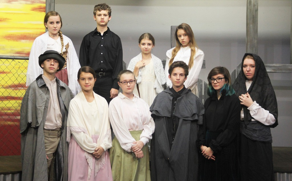 The cast of A Voice in the Dark: A Salem Story, on stage Oct. 30-Nov. 1 at Limelight Theatre. Back row from left: Ashley Herbert, Will Gooden, Lillian Black, and Kyler Unsworth. Front row from left: Kyle Thompson, Ella Romaine, Madison Mintzer, Patrick Paulding, Sarah Peeters, and Alison Zador. Photo by Renee Unsworth