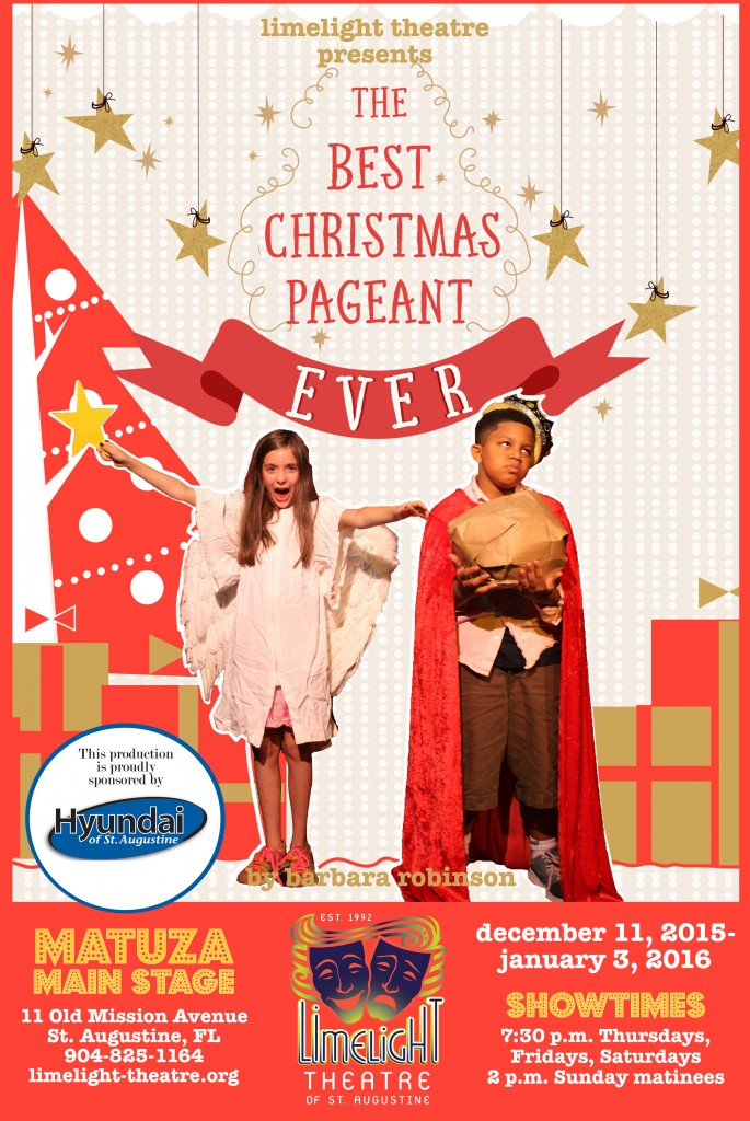 Madeline Pidcock and Zachary Davis pose as characters in The Best Christmas Pageant Ever. This family-friendly holiday show is on stage Dec. 10, 2015 through Jan. 3, 2016. This poster was created by local artist/actor Kelly Kates.