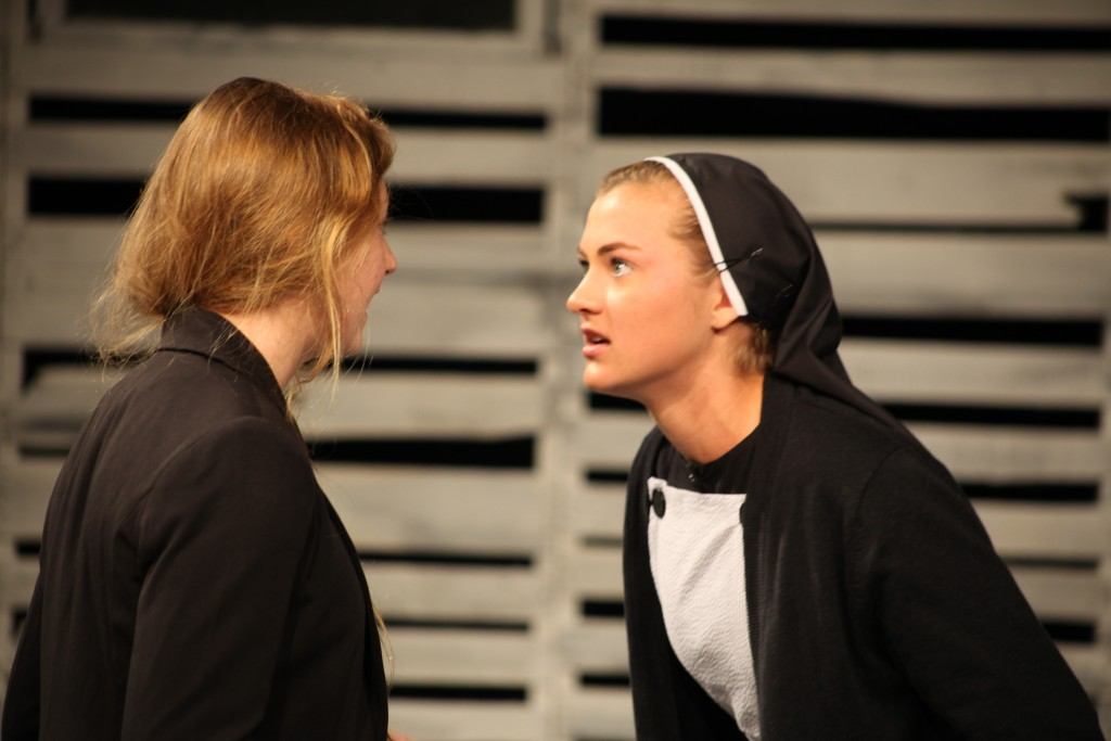 Jessica James and Emily Onimus in a scene from Agnes of God, on stage Nov. 19-22 at St. Augustine High School.