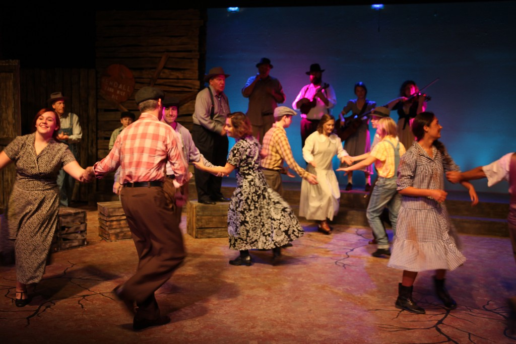 The cast of local actors and musicians during a square dancing scene in The Grapes of Wrath, on stage through Feb. 14 at Limelight Theatre, 11 Old Mission Ave., uptown St. Augustine.