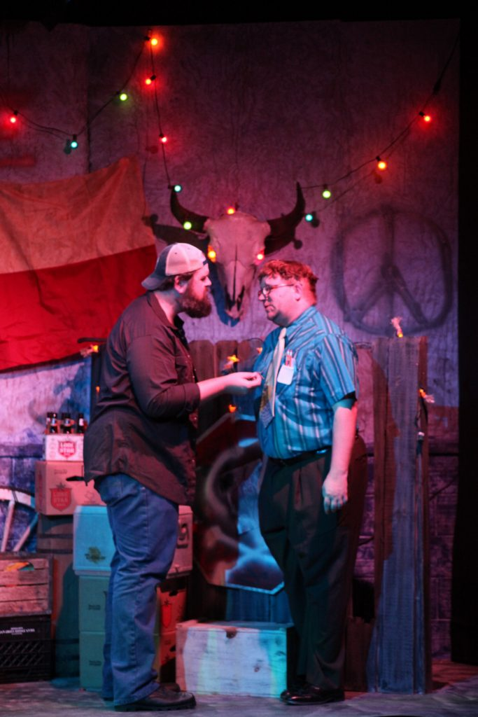 James Desmond (Ray) and Matthew Whaley (Cletis) in a scene from Lone Star, on stage June 3-26 at Limelight Theatre.