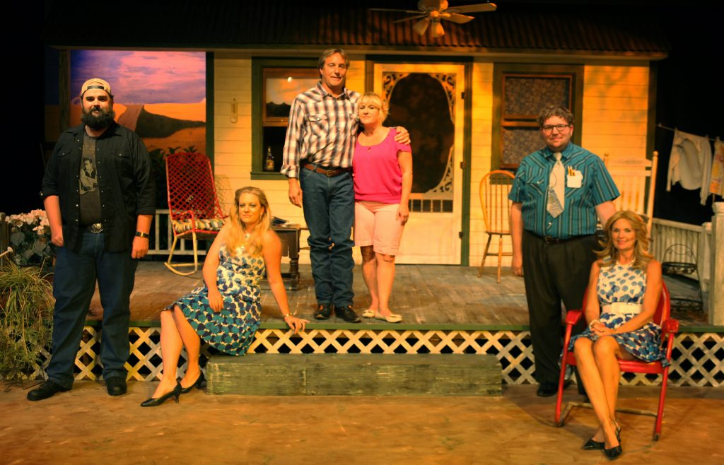 Cast and crew of Laundry & Bourbon and Lone Star, two one-act comedies on stage June 3-26 at Limelight Theatre. From left: Miles Mosher, Beth Lambert, James Desmond, Izabella Unice, Cathy O'Brien, Steve Harden, Jennifer Latka, Amanda Arany, Maria Tolzmann, Ryan Walker, Matthew Whaley, Linda Mignon, and Shelli Long.