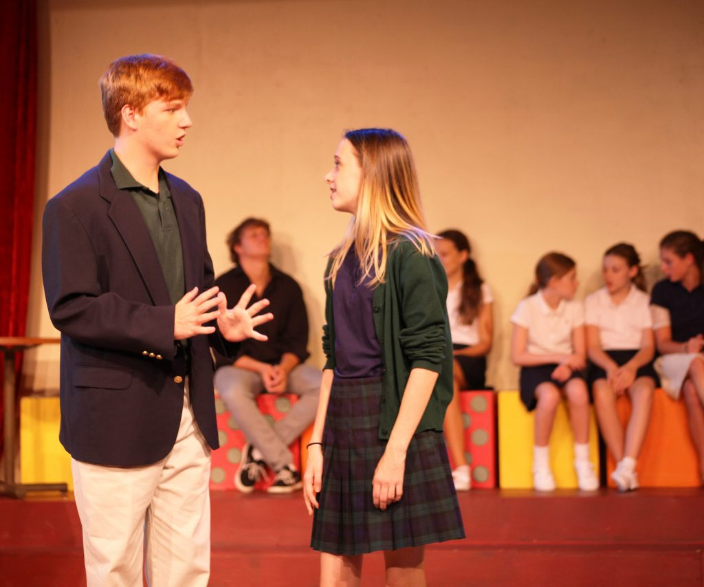 Kyle Worrell as and Maggie Cox as Emma in a scene during EMMA A Pop Musical.