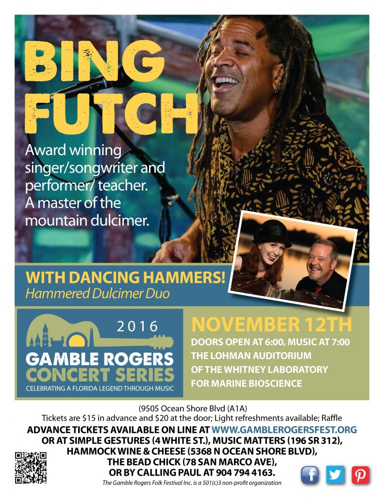 Nov. 12: Bing Futch performs as part of Gamble Rogers Music Festival concert series