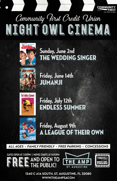 Friday August 1st Free Community >> June 2 August 9 Free Community First Night Owl Cinema Series At The