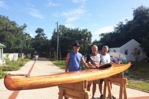 Handcrafted wooden kayak silent auction at the St. Augustine Lighthouse